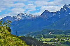 Swiss Alps-view on the castle Tarasp stock photography