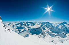 Swiss Alps. View from 3330mtrs mt fort in the swiss alps overlooking both matterhorn and mt blanc Stock Photo