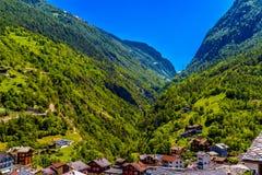Swiss Alps village in mountains valley, Stalden, Staldenried, Vi stock images