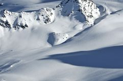 Swiss Alps: Wilderness skiing Royalty Free Stock Images
