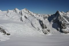 Swiss Alps in Winter. Winter in the Swiss high alps royalty free stock photos
