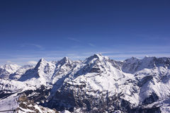 Swiss Alps in winter. Swiss alps mountain in winter with clear blue sky Stock Photo