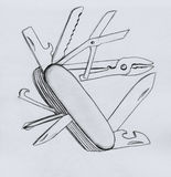 Swiss army knife. Open. Pencil drawing, sketch Stock Image