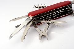 Swiss army knife. Close up of fully opened multipurpose knife Royalty Free Stock Photography