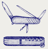 Swiss army knife. Doodle style Royalty Free Stock Photo