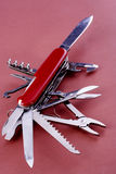 Swiss army knife. Fully opened multi purpose knife Royalty Free Stock Image