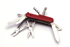 Swiss army knife. All-purpose Swiss army knife fully opened on white background Royalty Free Stock Photography