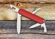 Swiss army knife red 3D illustration. Multifunction Stock Photography