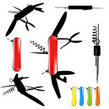 Swiss army knife silhouette. Vector swiss army knife silhouette Stock Photos