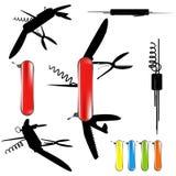 swiss army knife silhouette Stock Photos