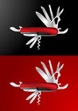 Swiss Army Knife Vector Illustration. In red / black background Royalty Free Stock Photo