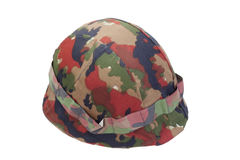 Swiss  army stell helmet with camouflaged cover Stock Photography