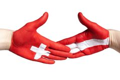 Swiss-austrian handshake Royalty Free Stock Photography