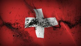 Switzerland grunge dirty flag waving on wind. Swiss background fullscreen grease flag blowing on wind. Realistic filth fabric texture on windy day Stock Photos