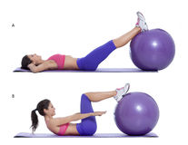 Swiss ball crunch. Step by step instructions for abs: Lie on your back with your hands under your head and put your legs on a swiss ball. (A) Engage your abs and Royalty Free Stock Photo