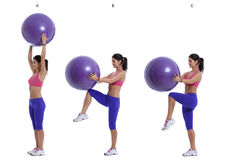 Swiss ball exercise for abs Stock Image