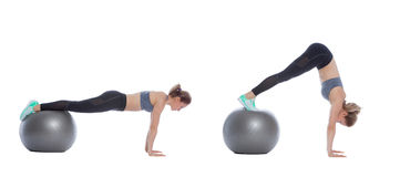 Swiss ball exercise Royalty Free Stock Photography