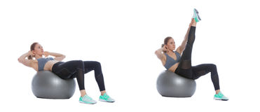 Swiss ball exercise. Execution with a professional trainer Royalty Free Stock Photos