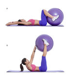 Swiss ball reverse crunch. Step by step instructions for abs: Lie on your back with your hands out to your sides while squeezing a swiss ball in between your royalty free stock photo