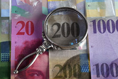 Swiss bank bills Royalty Free Stock Photo