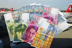 Swiss bank notes Royalty Free Stock Photos