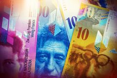 Swiss bank notes are one hundred, ten, twenty francs. Royalty Free Stock Image