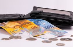 Swiss banknotes and coins in a wallet royalty free stock photos