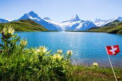 Swiss beauty, Schreckhorn and Wetterhorn, Switzerland. Royalty Free Stock Photo