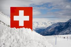 Swiss border. In European Alps Royalty Free Stock Photography