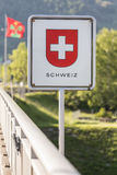 Swiss border sign. The swiss border sign stock images