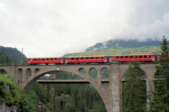Swiss bridge and the Rhaetian Railway royalty free stock photography