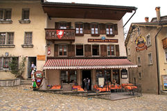 Swiss cafe in Gruyeres, Switzerland Stock Image