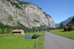 Swiss camping valley Stock Photo