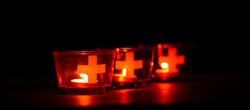 Swiss candles. Candles used in Switzerland to celebrate the national day on August 1st stock photography