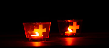 Swiss candles. Candles used in Switzerland to celebrate the national day on August 1st royalty free stock photo