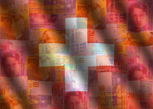 Swiss cash flag background Royalty Free Stock Images