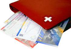 Swiss cash and wallet Royalty Free Stock Photography