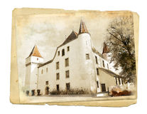 Swiss castle. Vintage picture of beautiful  Swiss castle Royalty Free Stock Photo