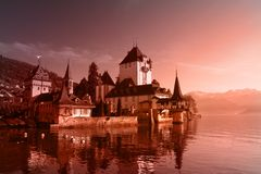 Swiss Castle at day Royalty Free Stock Photos