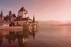 Swiss castle in the morning Royalty Free Stock Images