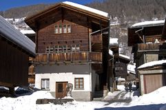Swiss chalet. Typical chalet house in Kippel L?hental Switzerland Royalty Free Stock Photos