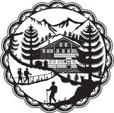 Swiss Chalet Alpine Hiker Decoupage Stock Photos