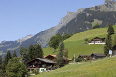 Swiss chalet in the Alps Royalty Free Stock Images