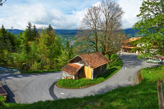 Swiss chalet at Alps. Swiss chalet near Reichenbach in Switzerland Royalty Free Stock Images