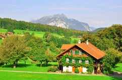 Swiss chalet. In Bernese Alps Royalty Free Stock Photography