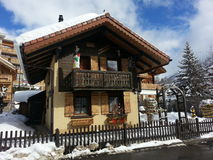 Swiss chalet. Colourful chalet in the Swiss alps Stock Photo