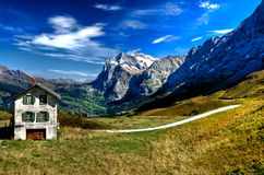 Chalet in Swiss Alps. Scenic view of wooden chalet in Alps mountains, Switzerland Royalty Free Stock Photo