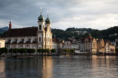Swiss Chapel with Spires on River Stock Photography