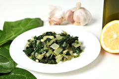 Swiss chard with garlic and oil Royalty Free Stock Image