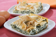 Swiss chard pie. With eggs royalty free stock image